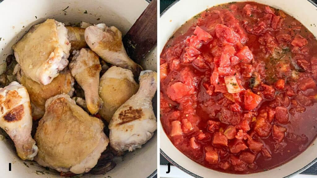 Chicken in the pan and the addition of diced tomatoes