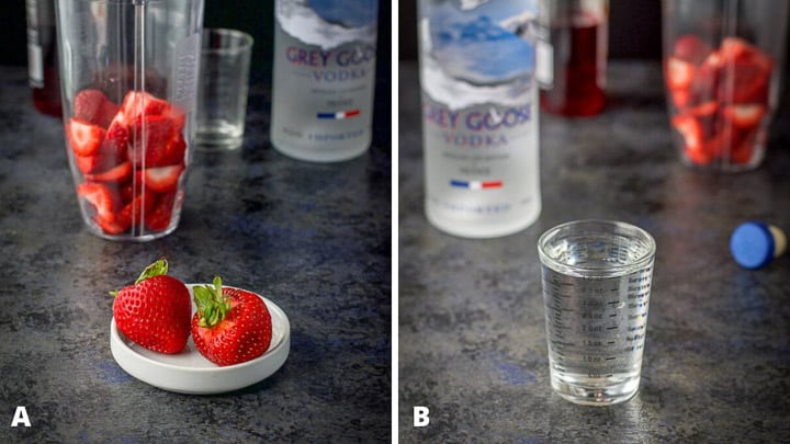 Strawberries in front for garnish and also in the blender along with measured out vodka