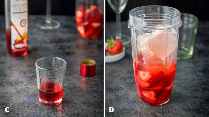 Grenadine poured out and the frose cubes and all the ingredients in the blender container