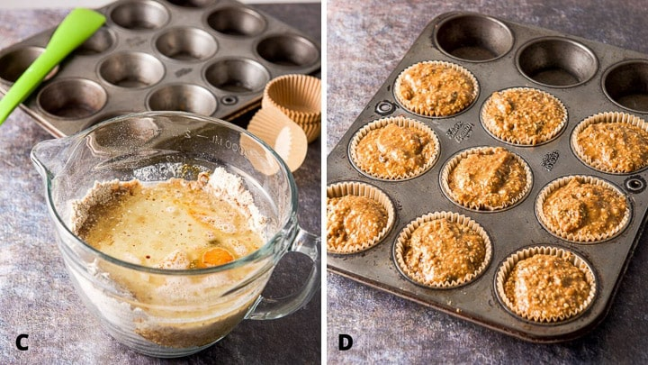 The ingredients in a bowl and the batter in the muffin pans