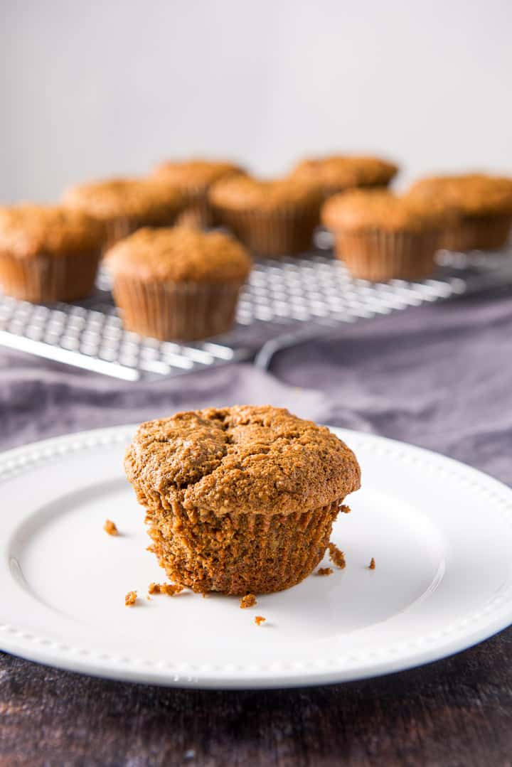 Close up of one of the oat muffins on a white plate