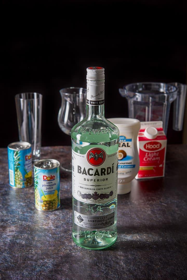 Rum, creme de coconut, light cream and pineapple juice
