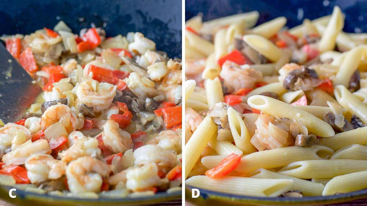 Shrimp cooked with the onion, peppers, butter and mushrooms in the wok and the penne pasta mixed in.