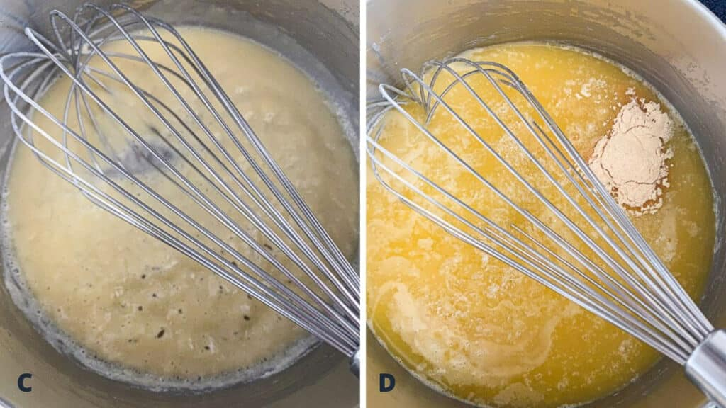 Butter and flour whisked into a roux and broth added along with spices