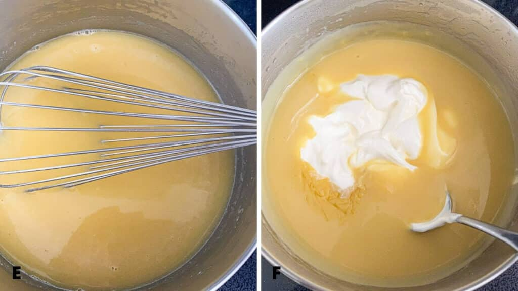 Thickened sauce with sour cream dolloped in it