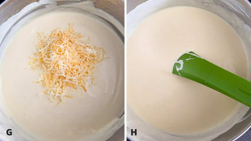 Sour cream sauce with cheese added and then stirred in and melted