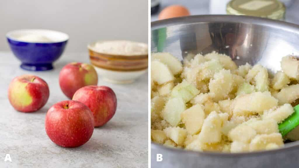 Apples, sugar and flour on a table. Metal bowl filled with sliced apples and sugar and then mixed with a spatula