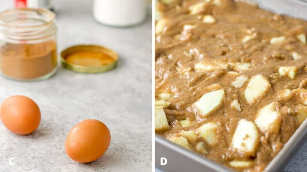 Eggs, cinnamon, vanilla and baking soda on one side and the batter mixed and poured into a square pan on the other