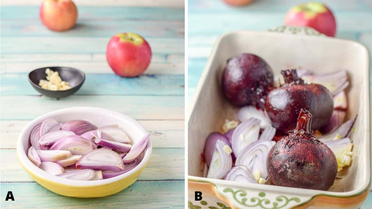 Photo on left has a shallow yellow bowl with sliced shallots, a black bowl with chopped garlic and 2 apples. The right photo is a baking dish with half cooked beets with the garlic and shallots added