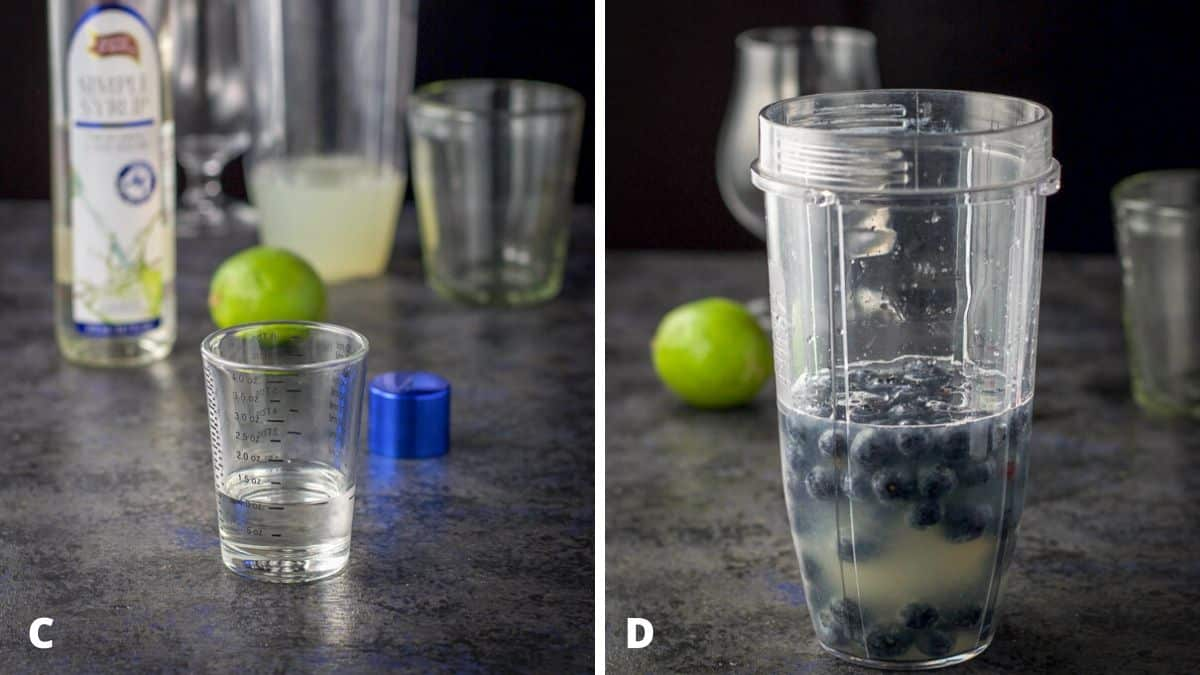 Simple syrup poured out and all the ingredients including the blueberries in the blender container