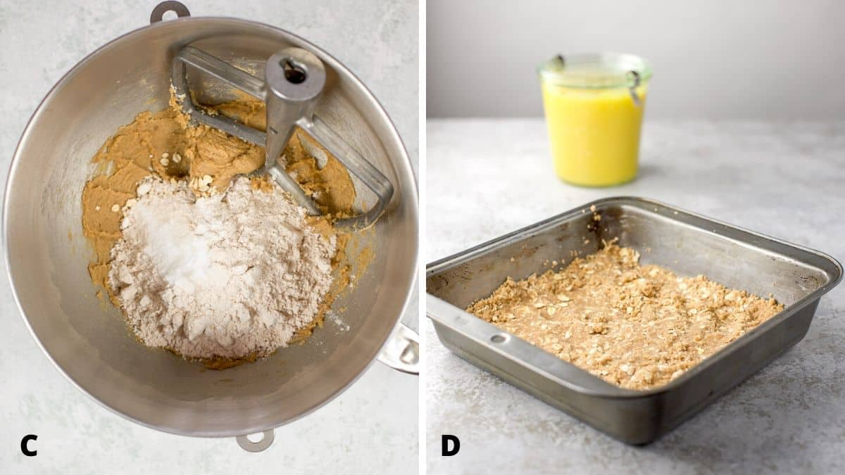 On left - flour, oats and baking soda added to the butter/sugar mixture. On right square pan with the crust layer pressed down