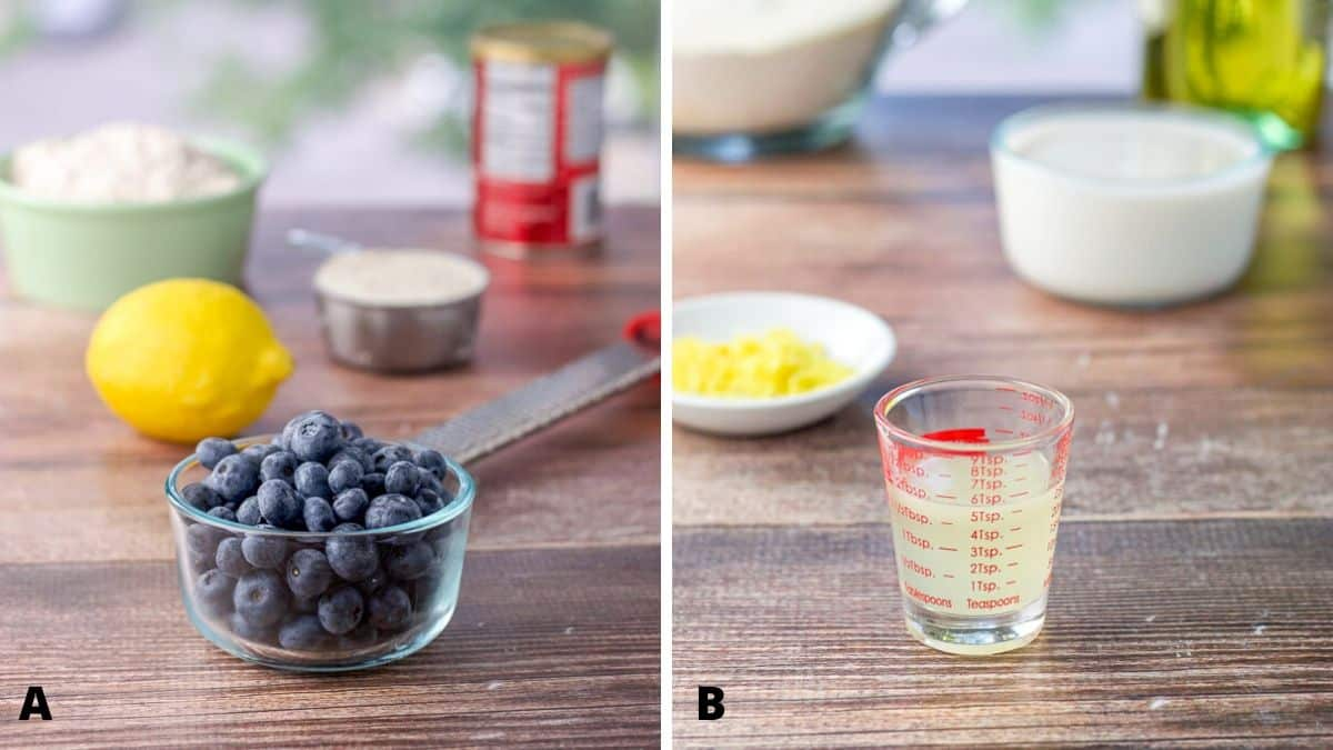 Photo on left - blueberries, flour, sugar, baking powder and lemon on a wooden board. On right - lemon juice, zest, milk and oil