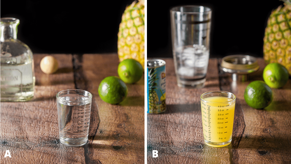 Tequila and pineapple measured for the cocktail with the bottles and limes in the background