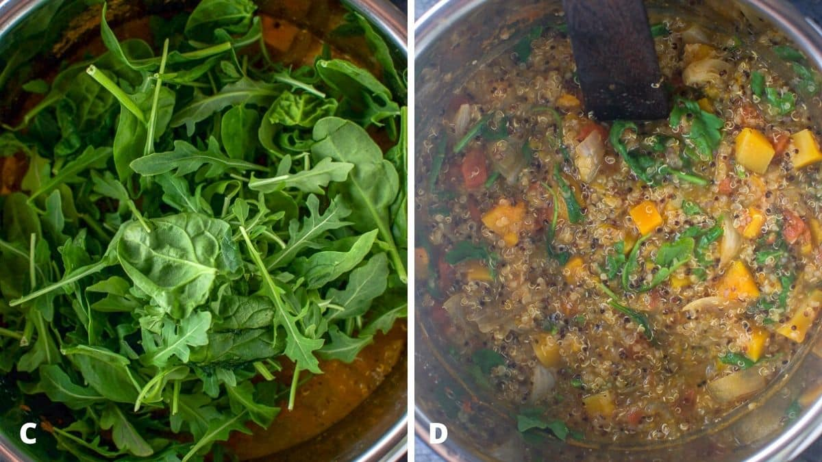 Spinach and arugula added to the stew on the left and it stirred in the stew on the right