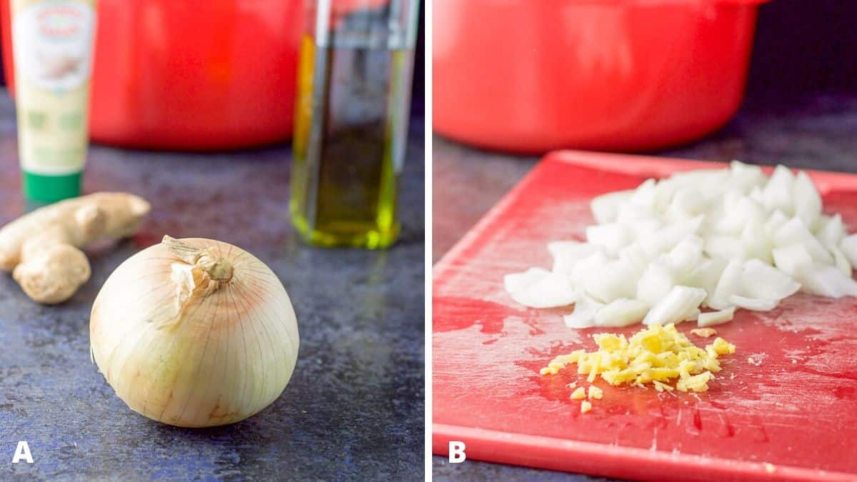 On the left - onion, ginger root, garlic paste and olive oil with a red Dutch oven in the background. Minced ginger and chopped onion on the right