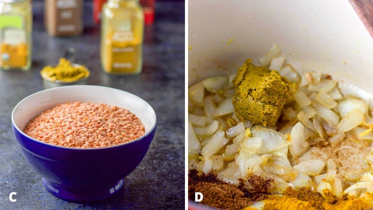 On the left - red lentils in a blue bowl with curry paste and spices behind it. Sautéed onions, curry paste and spices in the pan on the right