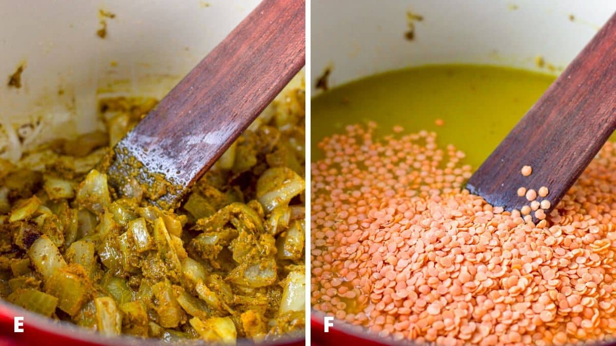 On the left - spices and curry paste stirred in the pan with the onions. And on the right, lentils and broth added to the mixture