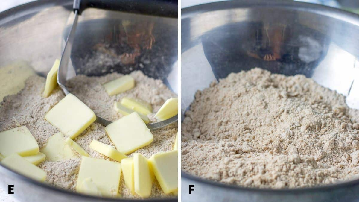 Butter cut into the flour mixture and then cut with the pastry cutter