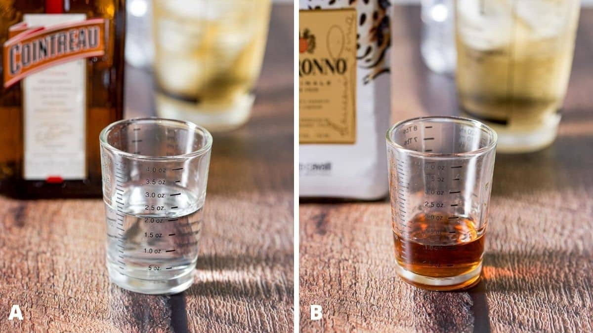 Orange liqueur and amaretto measured out with the bottles in the background