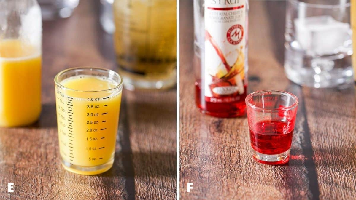 Orange juice and grenadine measured out with the bottles in the background