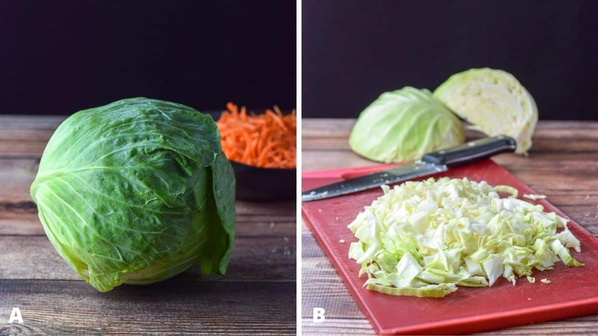 A head of cabbage and shredded carrots on a wooden table on the left. On the right - a red cutting board with sliced cabbage and a knife on it. There is also cut cabbage in the background