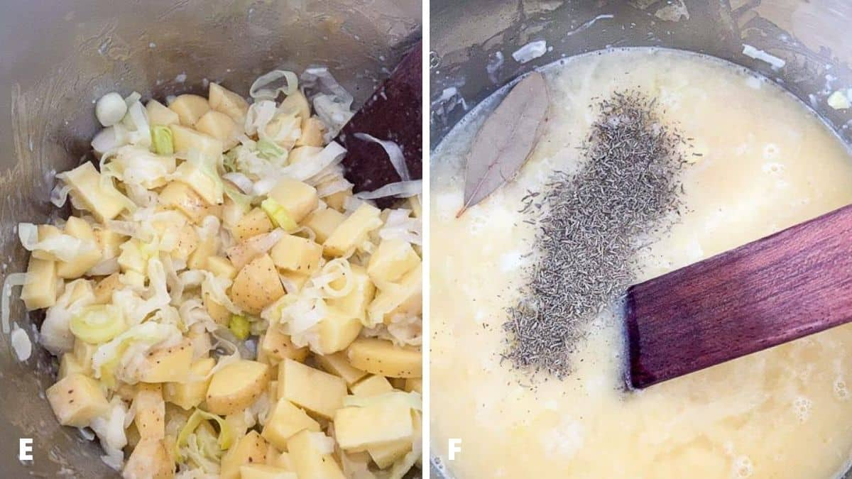 Potatoes added to the insert on the left, and broth, herbs and bay leaf in the insert on the right