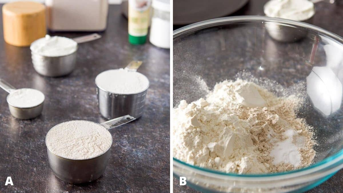 Photo on the left - flours, yogurt, baking soda, salt and yogurt. On the left - the dry ingredients in a glass bowl with yogurt in the background