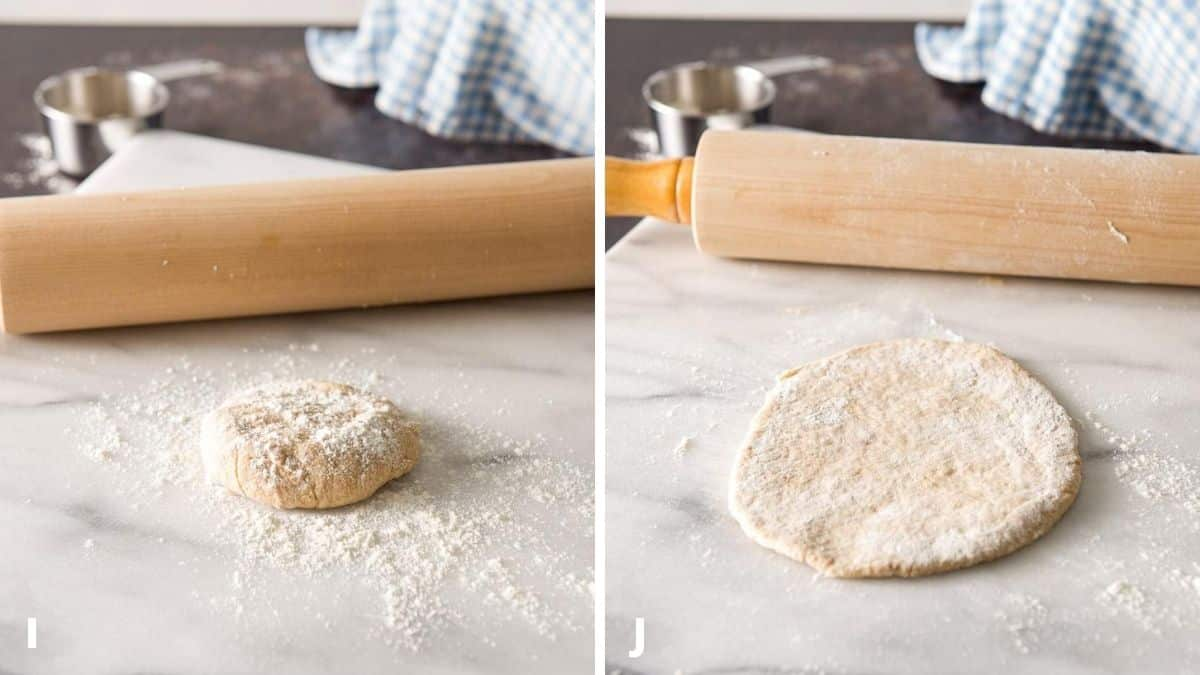A ball of dough with flour on it on a marble board with a rolling pin behind it and then the ball rolled out in a circle