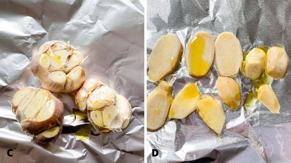 On the left - garlic bulbs on foil with the top cut off with oil dribbled on. On the right - sliced ginger on foil with oil dribbled on it