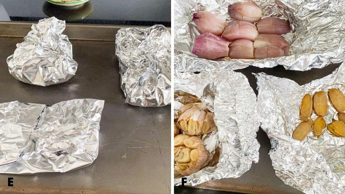 On the left - foil packets with the ginger, shallots and garlic in it. On the right - the packets open and the vegetables done