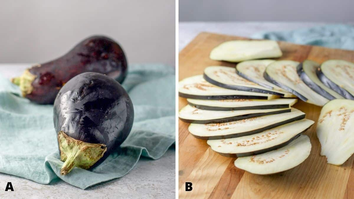 On left - eggplant. On the right sliced eggplant on a wooden board