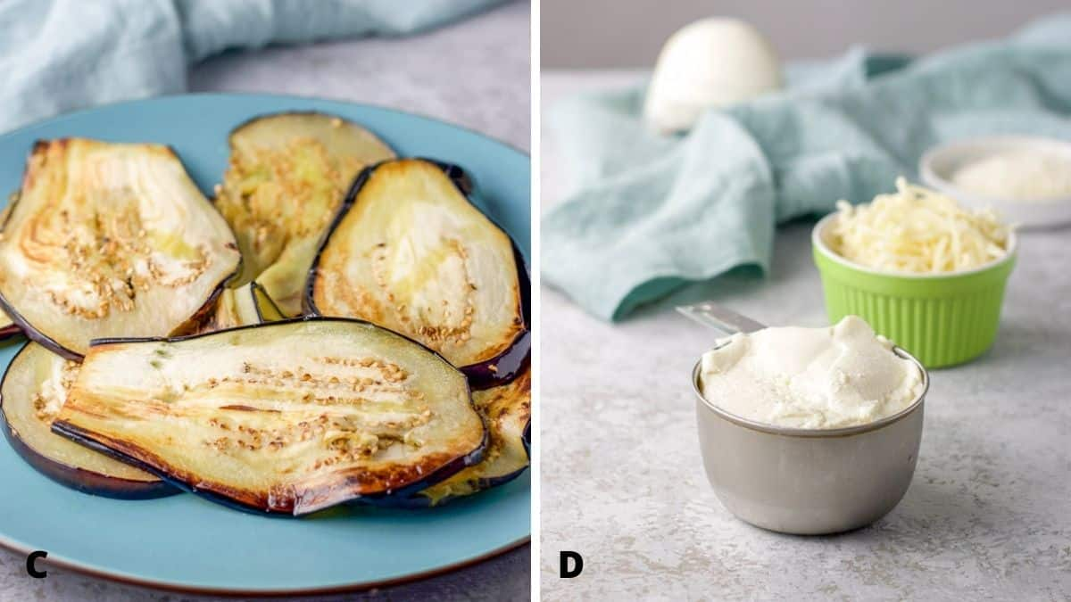On left - sautéed eggplant on a blue plate. On right - ricotta and cheeses on the table