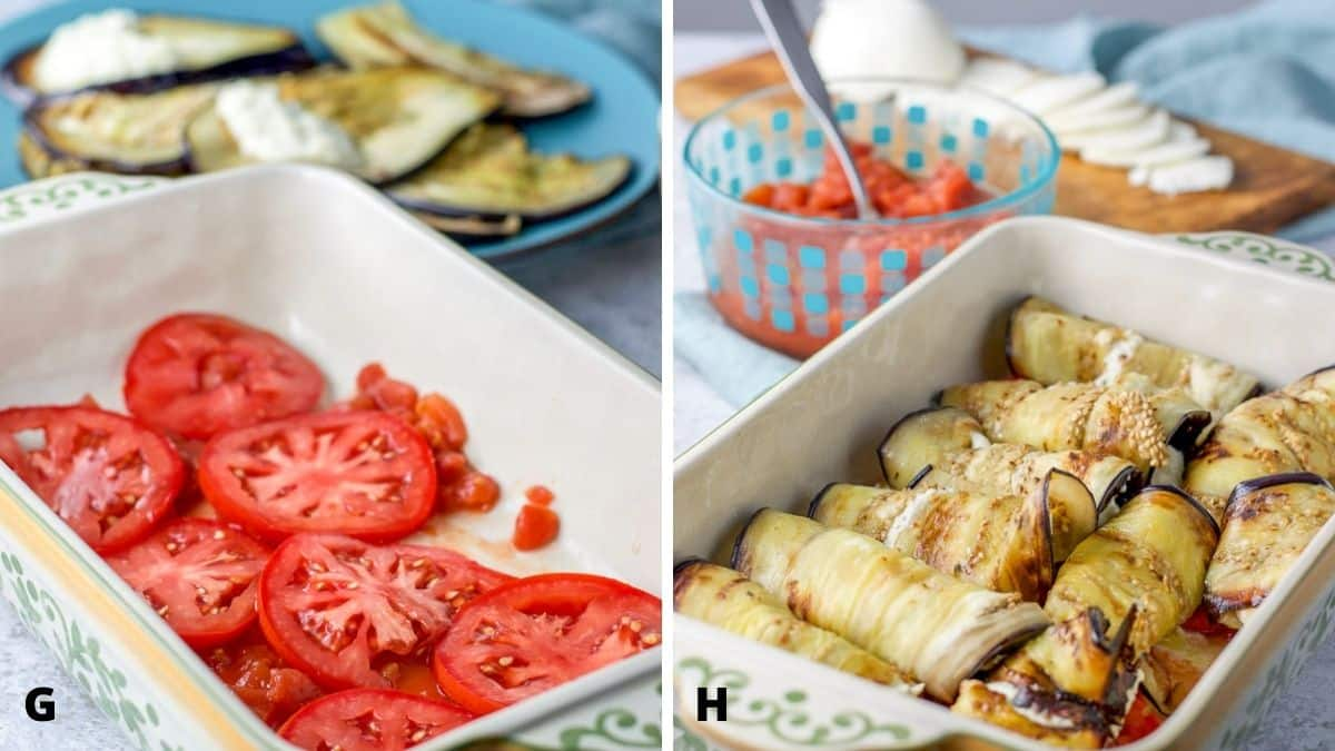 On left - tomatoes in a baking dish with eggplant in the background. On right - eggplant rolled up and put in the baking dish