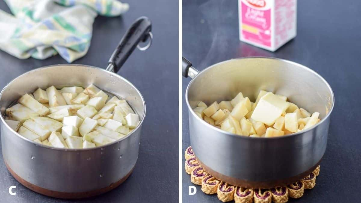 The root cut up into chunks in a pan with water on the left and the root done with butter in it on the right