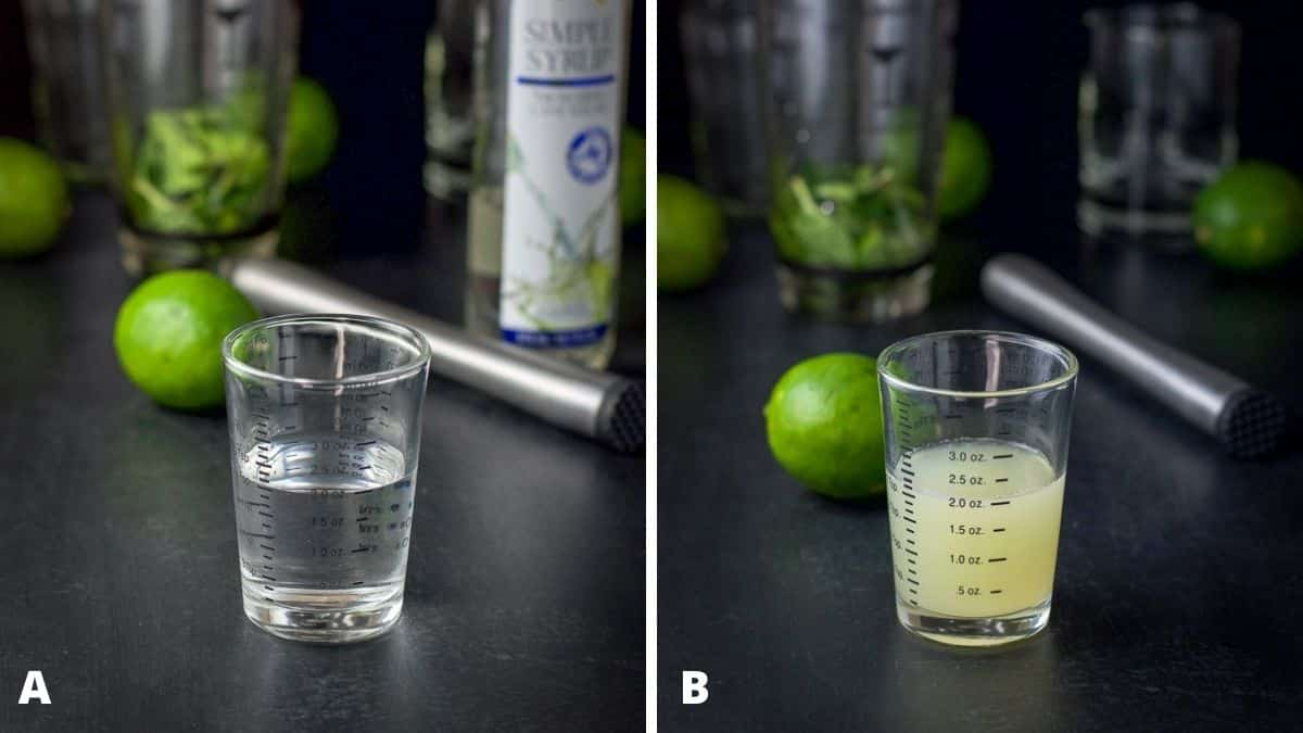 Simple syrup and lime juice poured out with the muddler, limes and cocktail shaker filled with lime