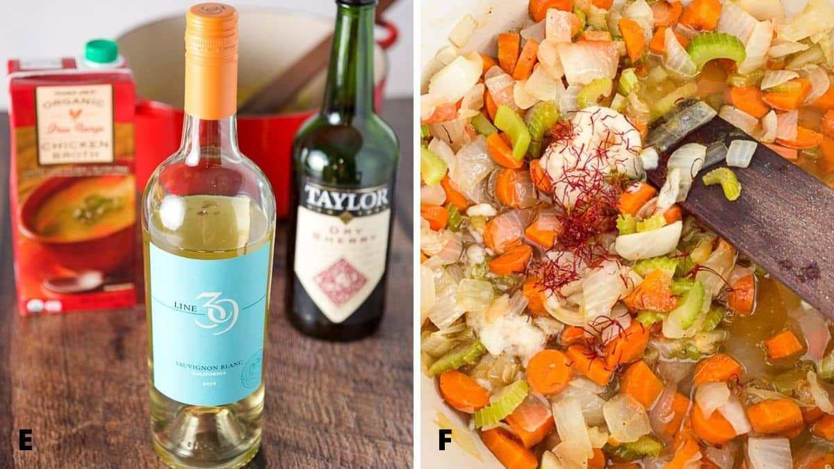 On the left - Sauvignon blanc, sherry, chicken broth and a red pan. On the right, onions, carrots and celery in a pan with garlic, saffron, wine and sherry