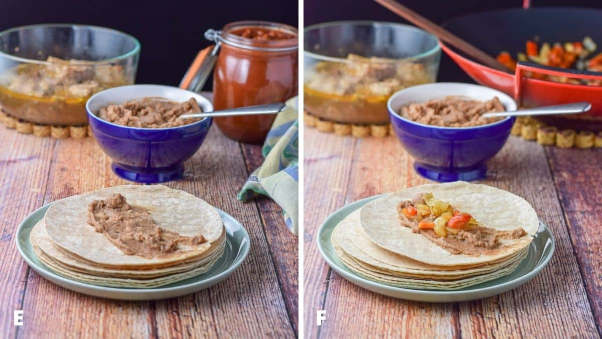 Beans smeared on the tortilla and vegetables added on the beans. The rest of the ingredients are also on the table