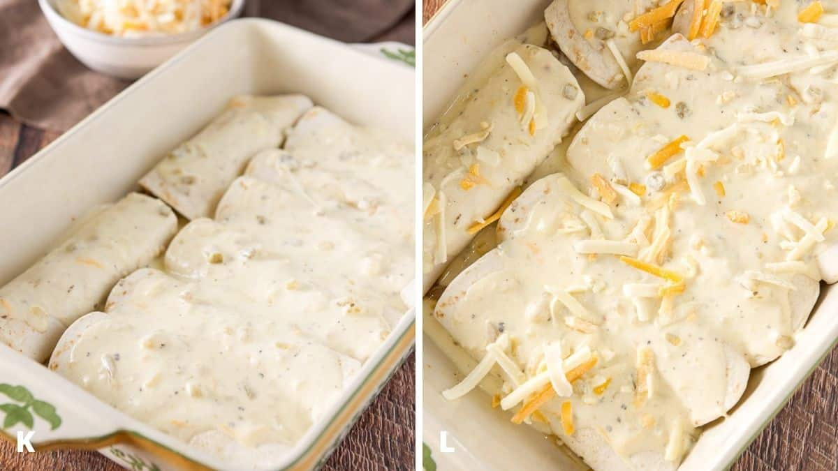 Sour cream sauce added on top of the enchiladas on the left and on the right shredded cheese added on top