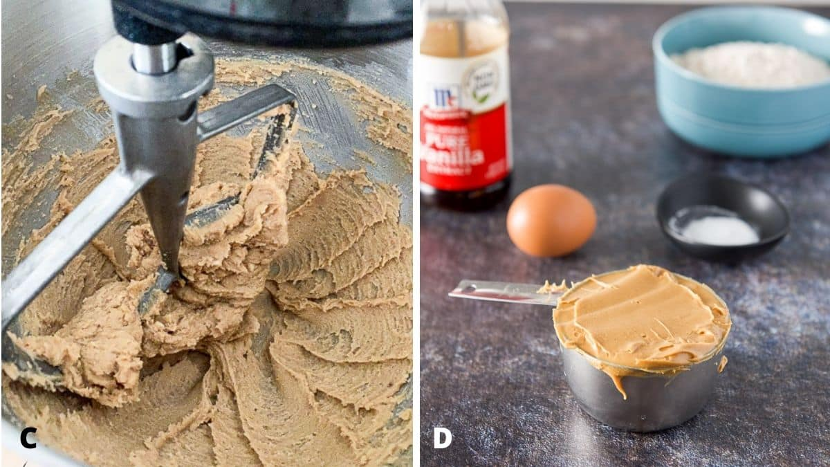 On left - butter and sugar mixed in mixer and on the right - peanut butter, egg, flour, vanilla and flour on the table