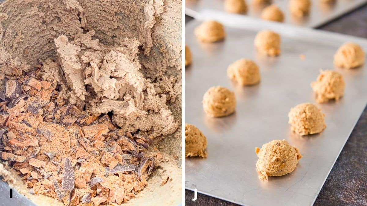 On the left - the dry ingredients mixed in the mixer and the butterfinger candy added in. On the right, the cookie dough on cookie sheets