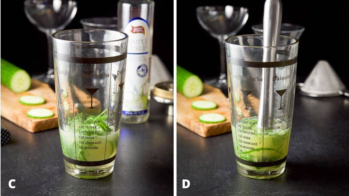 Left - lime juice and simple syrup added to the shaker for cucumber and dill. Right - the shaker with the muddled cucumber and dill