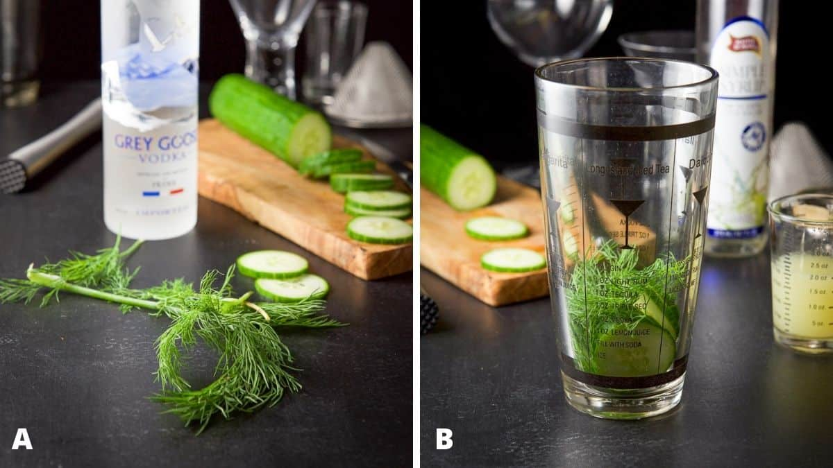 Left - dill, vodka, sliced cucumber and muddler. Right - cucumber and dill added to the cocktail shaker with lime and simple syrup on the side