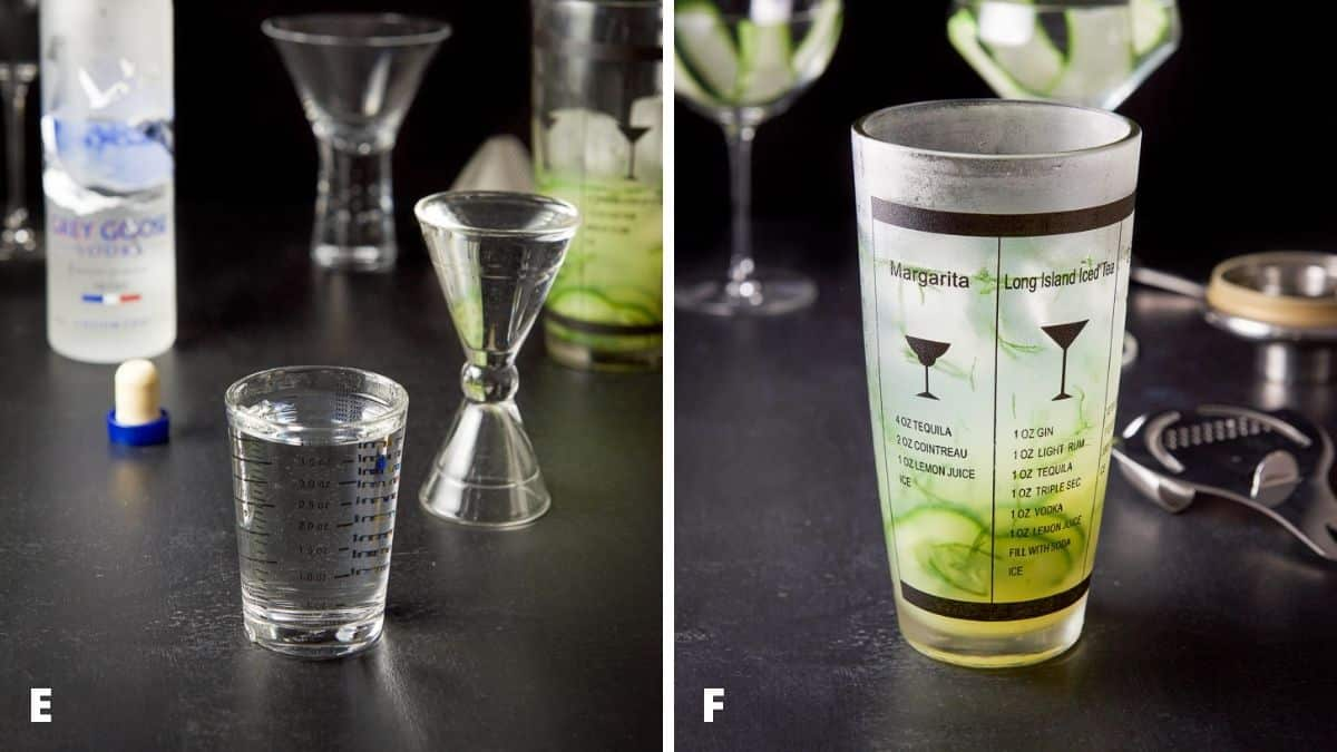 Left - vodka measured with the bottle and shaker. Right - vodka added to the shaker with the rest of the ingredients