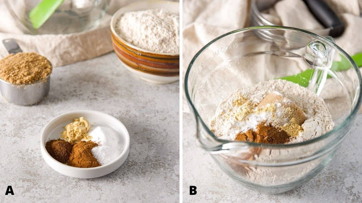 On the left - flour, sugar, ginger, cloves, cinnamon, salt and baking soda. On the right - all the ingredients in a bowl