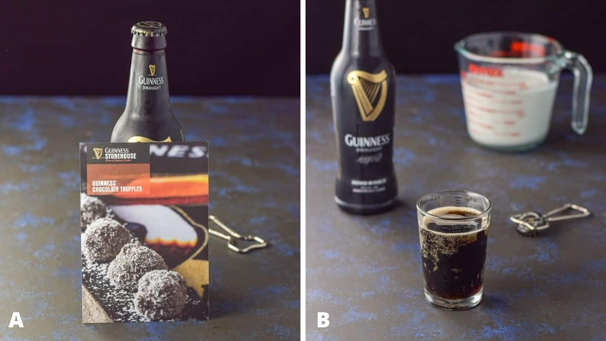 A recipe card against a beer on the left and on the right, stout and cream poured out
