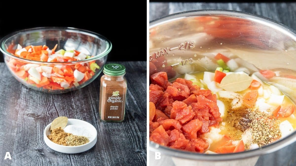 Left - herbs and spices and a glass bowl with chopped vegetables. Right - All the ingredients in the IP container