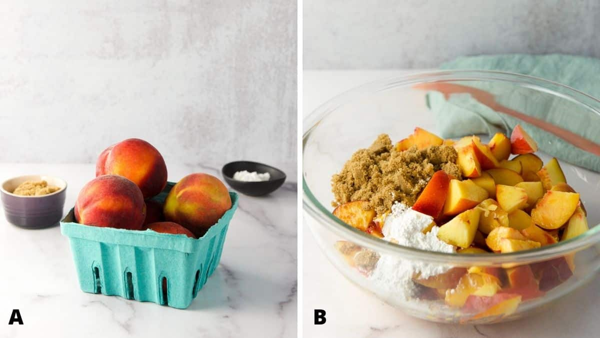 Left - Peaches, sugar and corn starch. Right - The dry ingredients added to the peaches in a bowl