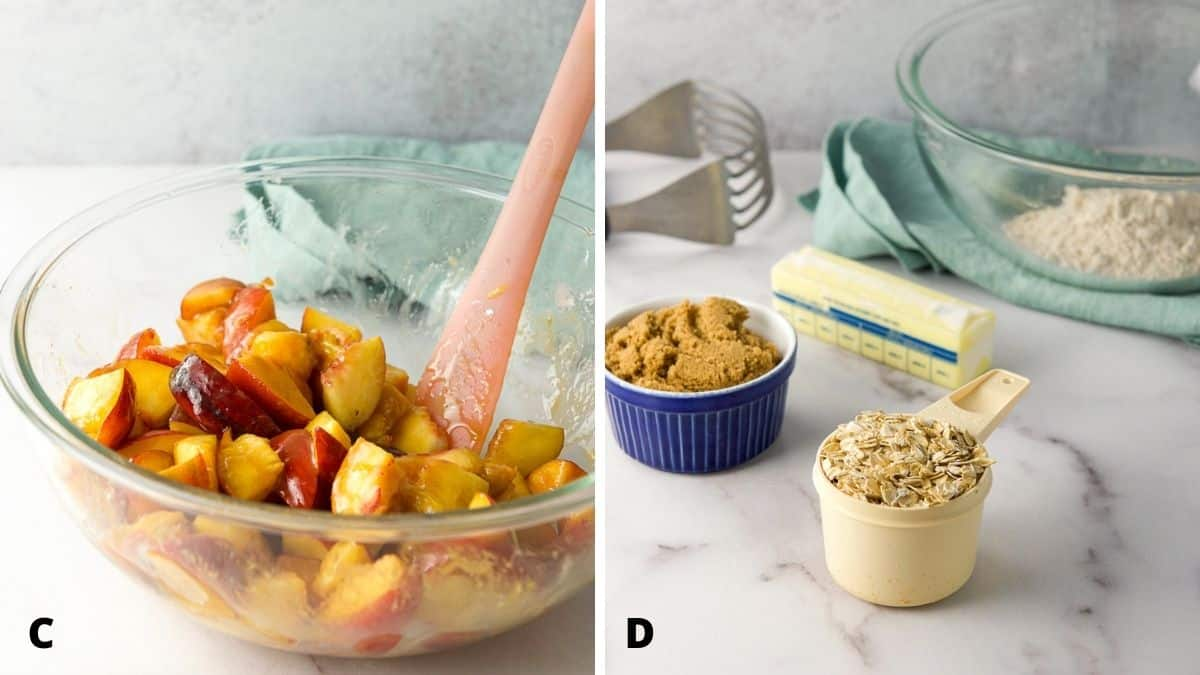 Left - Peaches and dry ingredients mixed. Left - oats, sugar, flour, butter and a glass bowl and pastry blender