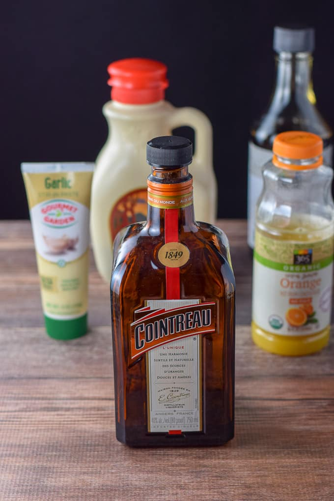 Cointreau, orange juice, garlic paste, maple syrup and soy sauce for the basting sauce for the duck
