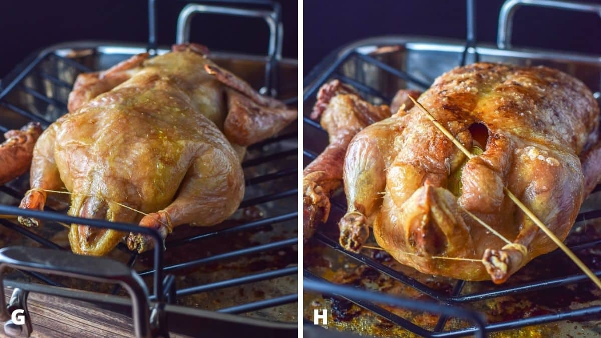 Left - duck flipped on breast and cooked longer. Right - Duck completely cooked still in the baking pan